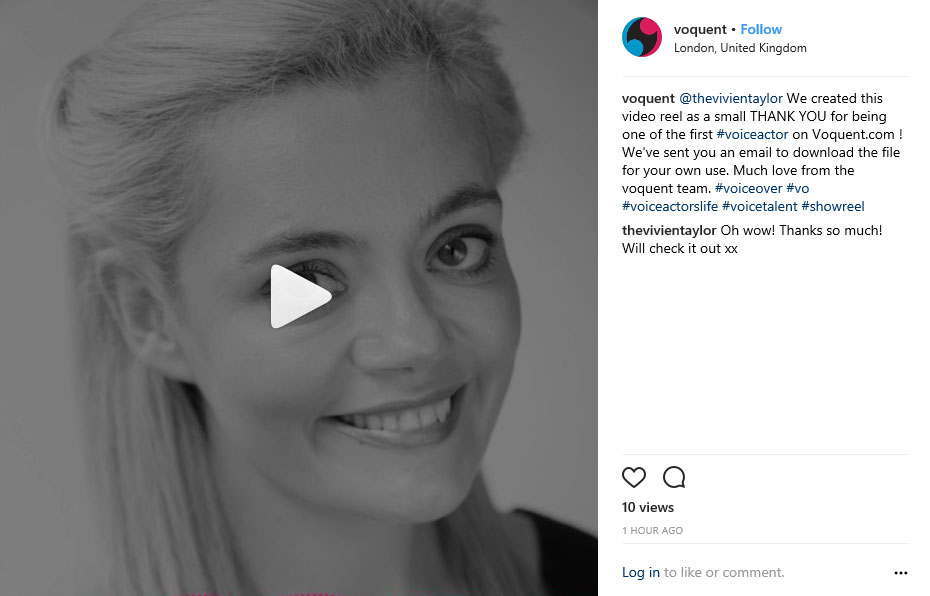 Turn a voice over showreel into video for Instagram or Twitter