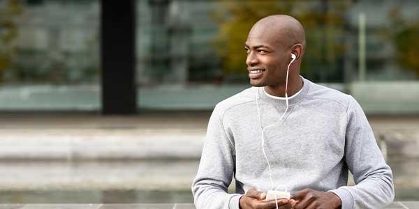 Man listens to audiobook